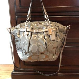 Large Coach green signature tote bag